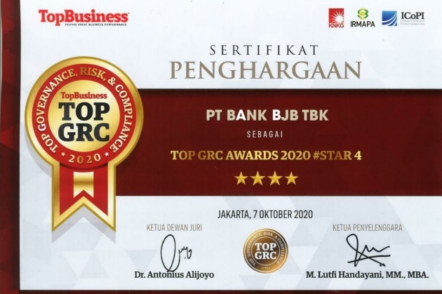 bank bjb raih penghargaan Top GRC 2020